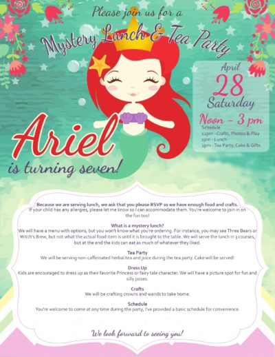 A birthday invitation with a mermaid resembling Ariel, the Little Mermaid