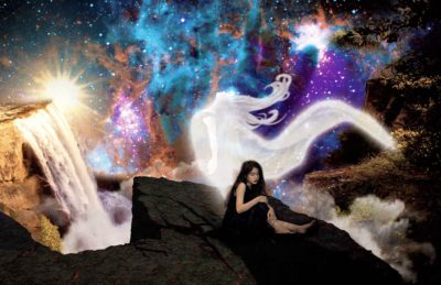 Photo of a lonely girl on a ledge with a spirit rising from her body in to space