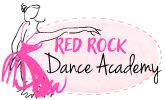 Red Rock Dance Academy Logo with ballerina